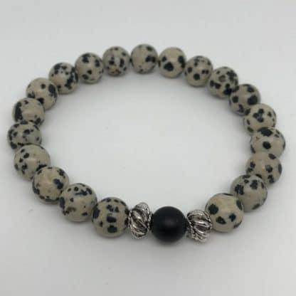 Bracelet en jaspe dalmatien - calme et sérénité